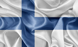 Flag finland. Satin flag finland On fabric texture Royalty Free Stock Image