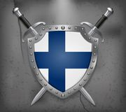 Flag of Finland. The Shield with National Flag. Two Crossed Swor. Ds. Vector Medieval Background Royalty Free Stock Photography