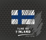 Flag of Finland, vector chalk illustration on black background. Vector sketch map of Finland with flag, hand drawn chalk illustration. Grunge design Stock Photo