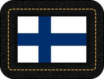 Flag of Finland. Vector Icon on Black Leather Backdrop. Aspect Ratio 2:3 Royalty Free Stock Photography