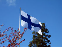 Flag of Finland. The flag of Finland waving in the wind Stock Photography