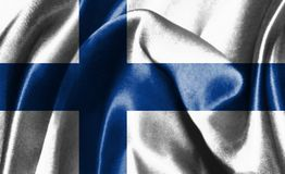 Flag Of Finland Waving In The Wind 3D illustration. Flag Of Finland Waving In The Wind Stock Photo