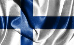 Flag Of Finland Waving In The Wind 3D illustration. Finland Flag Waving In The Wind 3D Illustration Royalty Free Stock Photography