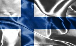 Flag Of Finland Waving In The Wind 3D illustration. Flag Of Finland Waving In The Wind Royalty Free Stock Images