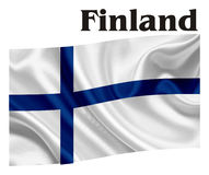 Flag of Finland with a word. National flag of Finland with her name Royalty Free Stock Photography
