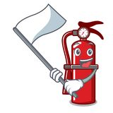 With flag fire extinguisher mascot cartoon. Vector illustration Royalty Free Stock Photo