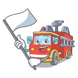 With flag fire truck mascot cartoon vector illustration