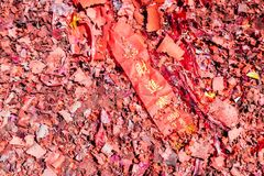 Flag in Firecrackers mean Wealthiness and Successful. Thailand royalty free stock photography