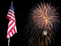 Flag and Fireworks Royalty Free Stock Image