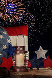 Flag and Fireworks Royalty Free Stock Images