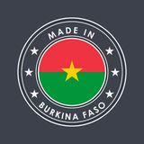 Flag of Flag of Burkina Faso. Round Label with Country Name for Unique National Goods. Vector. Isolated stock illustration