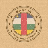 Flag of Flag of Central African Republic. Round Label with Country Name for Unique National Goods. Vector royalty free stock photo
