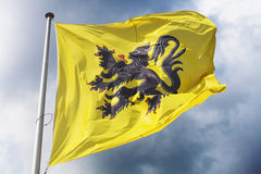 Flag of Flanders. (part of Belgium) waving against a dramatic cloudy sky Stock Photos