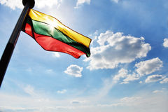 Flag flies on ship Royalty Free Stock Image
