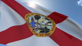 Flag of Florida Waving in the Wind. Seamless Loop stock video footage