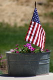 Flag in Flower Pot Royalty Free Stock Photography