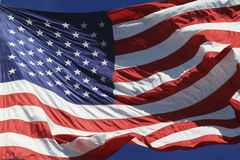 Flag Fluttering. US flag fluttering in the wind Stock Photography
