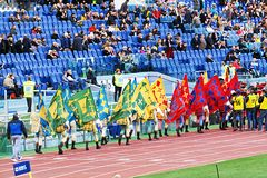 Medieval flag flyers. Flag flyers at olimpic stadium of rome for a show during the rbs rugby match italy vs france Stock Photography