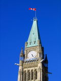 Flag flying on Clock Tower of Canadian Parliament Building in Ottawa, Ontario. Clock tower of Canadian parliament building on Parliament Hill in Ottawa in Stock Photos