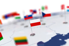 Flag in the focus. Europe map with countries flags Stock Photos