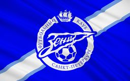 Flag football club Zenit, Russia stock images