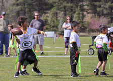 A Flag Football Game for 5 to 6 Year Olds Stock Images