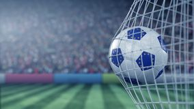 Flag of the European Union on the football hitting goal net back. Realistic slow motion 3D animation