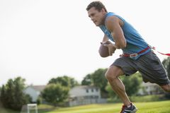 Flag Football Player Run Stock Images