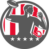 Flag Football QB Player Passing Ball Circle Retro Stock Image