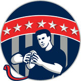 Flag Football QB Player Running Circle Retro Stock Images