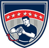 Flag Football QB Player Running Stars Crest Retro Stock Images