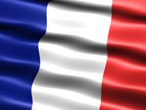 Flag of France. With silky appearance and waves Stock Photos