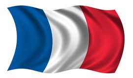 Flag of France. Waving in the wind - CLIPPING PATH INCLUDED Stock Photo