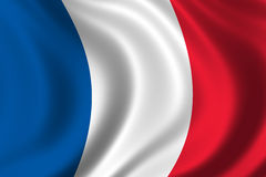 Flag of France. Waving in the wind Royalty Free Stock Photography