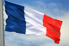 Flag of France. Against the sky Stock Photography