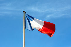 Flag of France against the sky Royalty Free Stock Photography