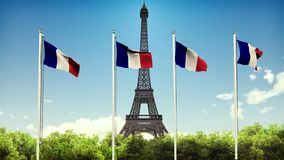 The flag of France. Beautiful loop animation of the French flag on the background of blue sky, clouds and Eiffel tower stock footage
