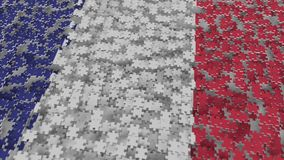 Flag of France being made with jigsaw puzzle pieces. French problem solution conceptual 3D rendering. Flag made of puzzle pieces, conceptual 3D stock illustration