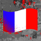 Flag of France and Blood Splatter Royalty Free Stock Photos