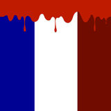 Flag of France and Blood Splatter Stock Photography