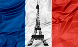 Flag of France with Eiffel Tower Royalty Free Stock Image