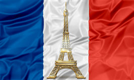 Flag of France with Eiffel Tower Stock Images