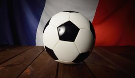 Flag of France with football on wooden boards. Royalty Free Stock Photos