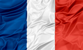 Flag of France. The national waving flag of France. Blue, white red background Stock Image