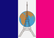 The flag of France,the planet and the Eiffel tower Stock Photo