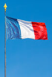 Flag of France Republic with pole, vertical frame Stock Image