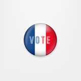 Flag of France round icon, badge or button. French national symbol. France Presidential Election Voting. Vector Stock Photos