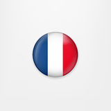 Flag of France round icon, badge or button. French national symbol. Vector illustration. Stock Photos