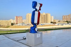 Flag of the France. Sculpture Flag of the France in Heydar Aliyev Center, in Baku Stock Images