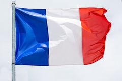 Flag of France waving on the wind Stock Photography
